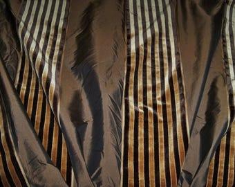 BEACON HILL SILK Velvet Stripes Fabric 2.5 Remnant Yards Brown