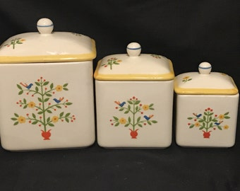 Cannisters Folk Art Ceramic made in Japan Cottage Chic Country Set of 3