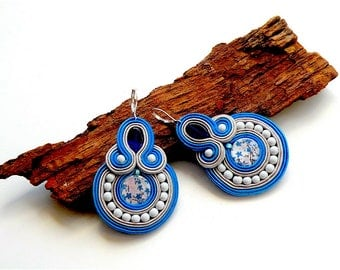 Earrings-Soutache Jewelry-Hand Embroidered Bluebottle