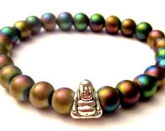 Hematite Beaded Bracelet. Buddha Bracelet. Buddhist Bracelet Yoga Bracelet Yoga Jewelry Healing Stones Energy Bracelet
