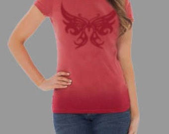 Stencil Women's Cap Sleeve with BUTTERFLY Graphic
