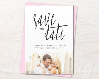 Calligraphy Save The Date Cards, Wedding Save The Dates, Photo, Printable, DIY, Save The Date Invites, Invitations, Save Our Date