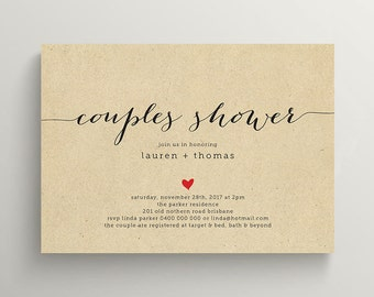 Printable Couples Shower Invitation \ Kraft Invite  (BR82)