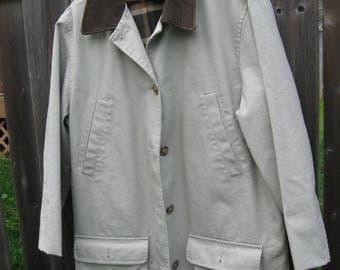 SALE Lands End Women's Field Coat ,Beige Leather Collar, Tartan Plaid Flannel lined, SIZE  M/L  44'' Chest