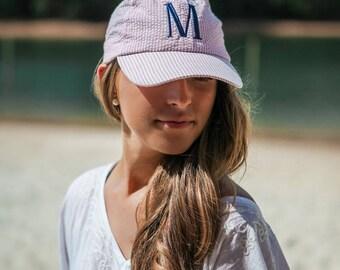 Monogrammed Ball Hat / Personalized Cap / Beach Hat / Seersucker /Ball Cap /Women's Adult Hat /Gift / Graduation Gift