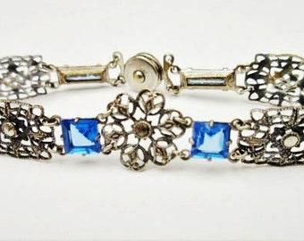 Blue Glass Link Bracelet - 1940s  snap clasp - Marcasite silver plated  filigree panel - Art Deco
