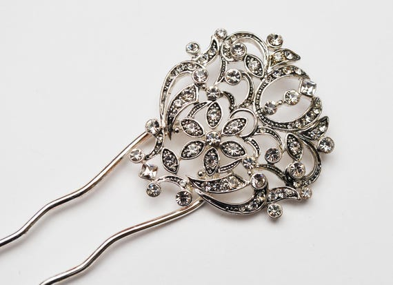 Rhinestone Silver Hair Pin - Signed Monet - NOS - Wedding Bride