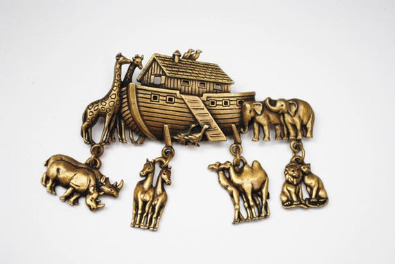Noah Ark Dangle Brooch - Signed JJ - Brass - Animals figurine pin