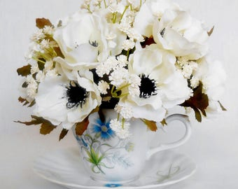 Silk Flower Teacup Arrangement, Cream Anemones, Baby's Breath, Vintage Floral Teacup, Artificial Flower Teacup Arrangement, Home Decor,