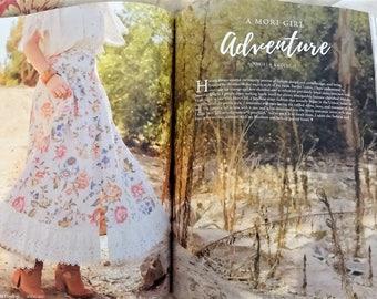 Rustic Prairie Skirt, Featured in Altered Couture Magazine, Floral Maxi Skirt, Linen Skirt, Ruffled Skirt, Mori Girl Skirt