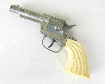 Vintage Toy Metal Diecast Pistol  - Cowboy Pistol - Child's Toy Gun - Faux Bone