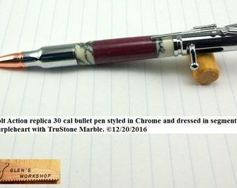 Bolt Action Bullet Pen Handmade Parker Pen Chrome Purpleheart TruStone Marble