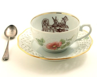 Alice in Wonderland Tea Party Cup Vintage Altered Tea Coffee Saucer Porcelain Lewis Carroll Flowers Drink Me Geekery Shabby Chic Romantic