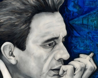 "Johnny Cash Smoking 5""x7"" Unframed Art Print- Desk Art, Wall decor"