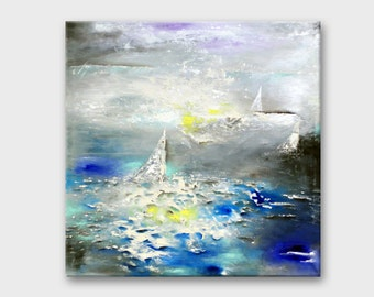 Gray blue Abstract Canvas art Abstract art on Canvas Painting Abstract Contemporary wall art Acrylic sea painting Seascape art Original art