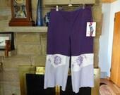 Women's Funky Upcycled Linen Wide Legged Capri Pants size Large