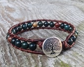 indian Bloodstone bracelet green beaded leather wrap with tree heart root and sacral chakra unisex for men and women