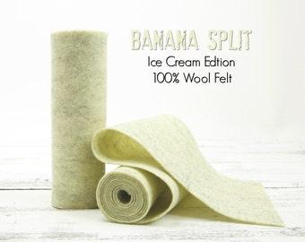 "100 Percent Wool Felt Roll - Wool Felt color BANANA SPLIT - 5"" X 36"" Wool Felt - 100% Wool Felt"