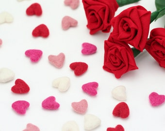 NEW Felt Hearts -   2 cm Felt Hearts - 12 count - Wool Felt Valentine Hearts || Wool Felt Hearts  || Tiny Hearts