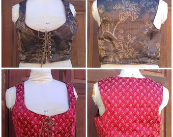 Corset- Bodice- Short vest - Wench wear Lace up reversible. Two in One corset!