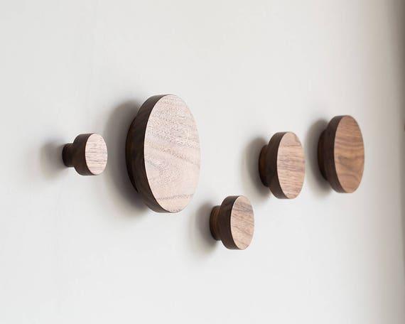 Round Coat Hooks wall hooks set of 4 wooden coat hook wall knobs modern coat