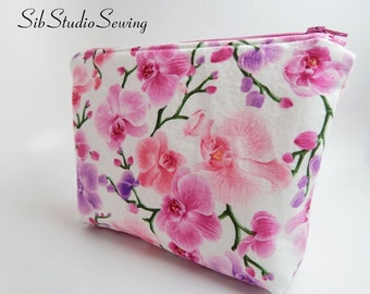 Orchids Cosmetic Bag, 9 x 6 x 2 inches, Interior Vinyl Lined for Easy Clean, Zipper Closure, Padded, Orchids Makeup Bag, Toiletry Bag