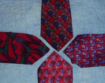RED toned Jerry Garcia Ties Set of 4  crafters supply SALE