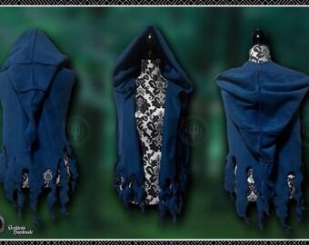 Funky fleece tendril vest, waistcoat with oversize pixie hood pagan, festival, psy trance, fearie, elven