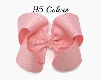Hair Bows, Pink Hair Bow, 4 Inch Hair Bow, Girl Hair Bows, Solid Color Hairbows, Boutique Bow, Alligator Clip, Snap Clip, Barrette, Hairbows