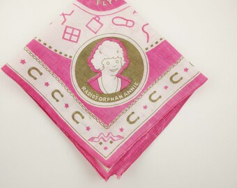 Vintage 'Little Orphan Annie' Bandana - Pink, White and Tan Cotton - 'Flying W Ranch' - Collectible Fabric - Ovaltine Premium