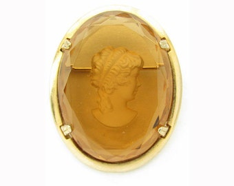 Vintage 1960s WARNER Brooch Large Amber Glass Intaglio Romantic Reverse Cameo Designer Jewelry