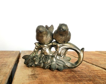 Vintage Salt and Pepper Shakers, Silverplated Bird Salt and Pepper Set, Two Birds on a Branch, Figural Salt and Pepper Shakers
