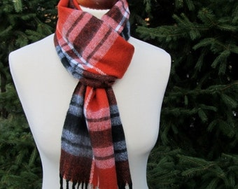 Red and Black Soft Scarf, Long Scarf, Wool Touch and Acrylic, Gift for her, Gift for him, Christmas gift,