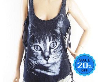 Cat tshirt cat tank cat shirt women graphic tee cool shirt slogan top bleached black shirt sleeveless (Measurements - fits great from S - M)