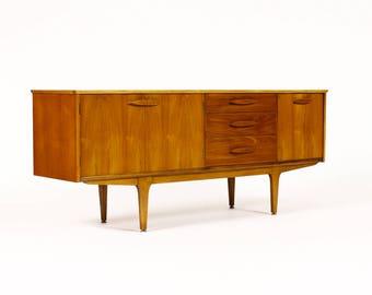 Danish Modern / Mid Century Teak Credenza / Sideboard — Oval Block Pulls — Cocktail Cabinet