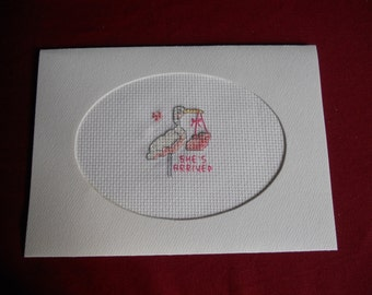Cross stitch Card  - She's Arrived! - New Baby Girl, Stork