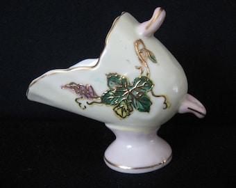 Vintage Scuttle Sugar Scoop Toothpick Holder Five Lobe Leaf Design Coal Scuttle Shape Grape Leaf Possibly