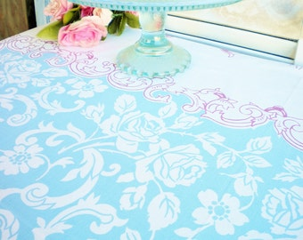 Vintage Tablecloth With Floral Print/Shabby Chic Tablecloth With Roses/Something Blue/Vintage Wedding/Shabby Chic Curtain/For Bedding