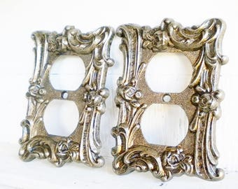 french light set of 2decorative switchplate 2 way outlit brass - Decorative Switch Plates