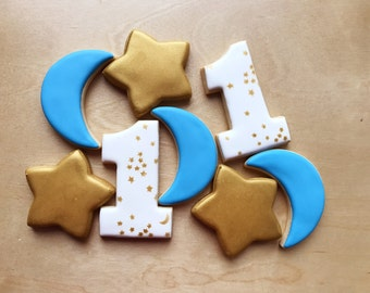 Gold star and moon birthday cookies