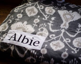 Charcoal Gray Dog Bed Cover - Dark Grey Dog Bed - Custom Dog Bed - Charcoal Ikat - Pet Beds - Gray Dog Bed Cover Dog Bed ALL SIZES