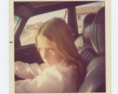 Young Girl Behind Wheel of Mercedes, 1975 Vintage Snapshot Photo (72546)