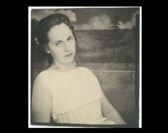 Vintage PhotoBooth Arcade Photo, c1950s: Unsmiling Girl (74571)