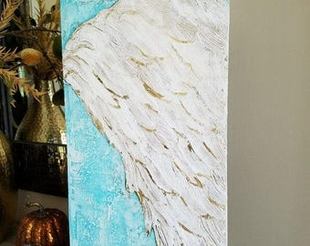 Spring Sale Angel Wing Art, Guardian Angel, Abstract wing on canvas with metal gold leaf, ethereal, heavenly 12 x24