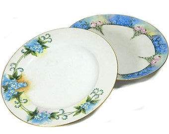 Two Antique Hand Painted Forget-Me-Not Plates