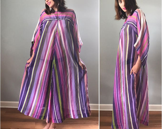 Vintage 60s Striped Purple Caftan Loungewear