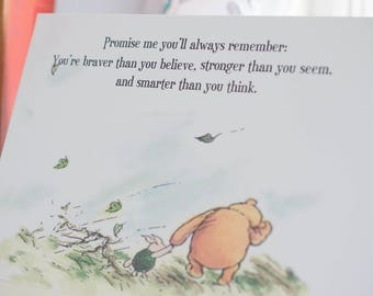 Winnie the Pooh Card Anniversary Card Classic Quote Promise Me You'll Always Remember  Winnie the Pooh Birthday Card