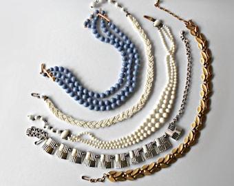 Vintage Jewelry Lot Wearable Necklaces Chokers Milkglass Glass beads Craft Destash Crown Trifari Coro Japan