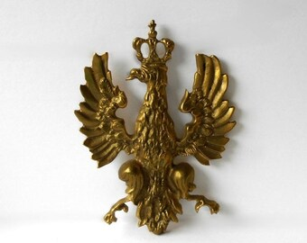 Vintage Brass Crowned Eagle Polish Poland Coat of Arms Wall Hanging Decor