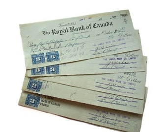ON SALE Royal Bank of Canada Toronto Branch 1944 Excise Stamps Cancelled Cashed Cheques